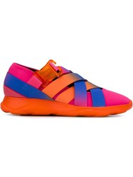 Christopher Kane Cross Strap Sneakers Pink And Purple