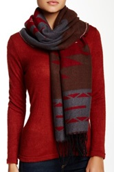 Lava Oversized Western Aztec Scarf Red