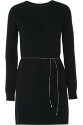 Helmut Lang Belted Wool Blend Sweater Dress Black