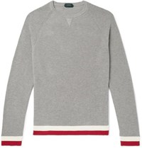 Incotex Slim Fit Contrast Tipped Cotton Sweater Gray