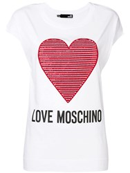 Love Moschino Embroidered Heart T Shirt White