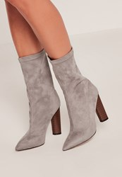 Missguided Grey Microfibre Wooden Heeled Boots