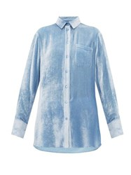Sies Marjan Sander Silk Blend Velvet Corduroy Shirt Light Blue