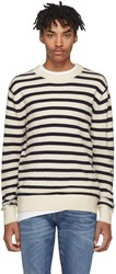 Tiger Of Sweden White And Navy Striped Brisbane Pullover