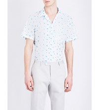 Richard James Floral Print Cotton Shirt White Blue