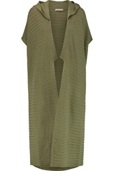 Alice Olivia Ribbed Wool And Cashmere Blend Hooded Cardigan Green