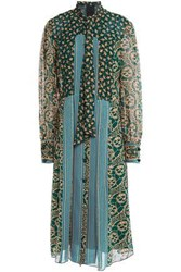 Anna Sui Woman Pussy Bow Printed Georgette And Silk Crepe De Chine Midi Dress Emerald