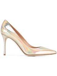 Sergio Rossi Metallic Grey Stiletto Pumps