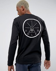Poler Long Sleeve T Shirt With Golden Circle Back Print Black