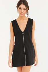 Motel Cambric Zip Front Shift Dress Black