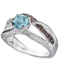 Le Vian Chocolatier Blue Topaz 3 4 Ct. T.W. Diamond 1 5 Ct. T.W. And Chocolate Diamond Accent Ring In 14K White Gold