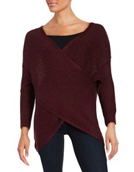 Design Lab Lord And Taylor Mock Wrap Knit Sweater Burgundy