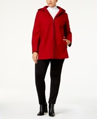 London Fog Plus Size Seamed Peacoat Red