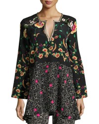 Etro Mixed Print Tunic Top Black Pattern