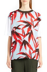 Marni Women's Swash Print Tee White Illusion Blue