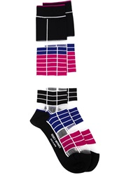 Issey Miyake Long Striped Socks Black