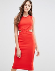 Wal G Pencil Dress With Cut Outs Red