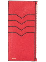 Valextra Zipped Card Case Red