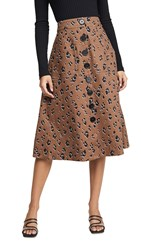 Nicholas Button Front Skirt Light Tobacco