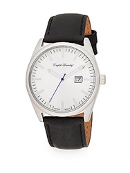 English Laundry Stainless Steel Black Leather Strap Watch