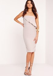Missguided Strapless Frill Bust Midi Dress Grey Grey
