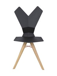 Tom Dixon Y Chair With Wooden Legs Black Brown
