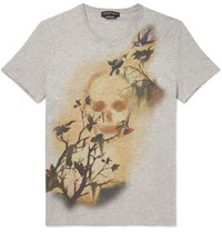 Alexander Mcqueen Slim Fit Printed Cotton Jersey T Shirt Gray