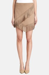 Women's 1.State Fringe Trim Faux Suede Wrap Skirt