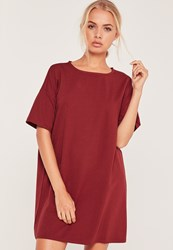 Missguided Burgundy Oversized T Shirt Dress