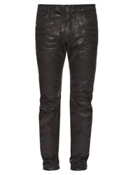 Balmain Biker Slim Leg Wax Effect Jeans Black