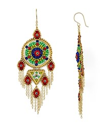 Miguel Ases Round Fringe Drop Earrings Red Multi
