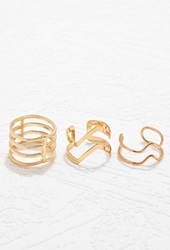 Forever 21 Geo Cutout Ring Set Gold