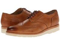 Frye Jade Wingtip Tan Smooth Vintage Pull Up Women's Lace Up Casual Shoes Brown