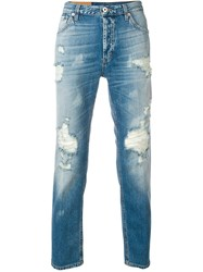 Dondup Ripped Carrot Fit Jeans Blue