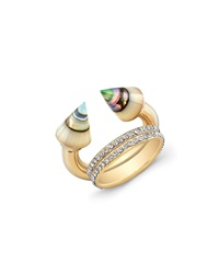 Vita Fede Titan Abalone And Double Crystal Band Ring Gold
