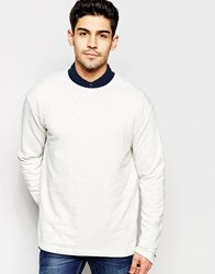 Selected Homme Sweatshirt With Cuff Zip Detail White
