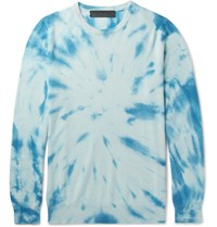 The Elder Statesman Billy Tie Dyed Cashmere Sweater Blue