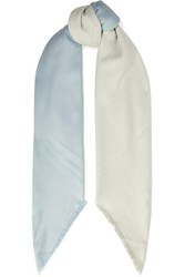 Johnstons Of Elgin Frayed Two Tone Cashmere And Silk Blend Twill Scarf Sky Blue