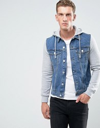 New Look Denim Jacket With Jersey Sleeves In Mid Wash Mid Blue