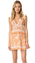 For Love And Lemons Mia Paneled Mini Dress Peach