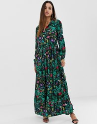 Prettylittlething Button Down Maxi Shirt Dress In Black Floral Multi