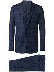 Valentino Two Piece Check Suit Blue