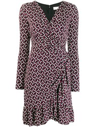 Michael Michael Kors Printed Long Sleeved Dress Pink
