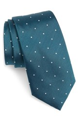 The Tie Bar Dot Silk And Wool X Long Teal