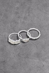 Noir Jewelry Woman Set Of Three Rhodium Plated Crystal Rings Silver