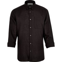 River Island Mens Black Linen Rich Shirt
