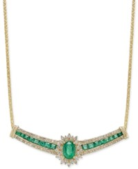 Macy's Emerald 2 1 3 Ct. T.W. And Diamond 3 4 Ct. T.W. Collar Necklace In 14K Gold Green