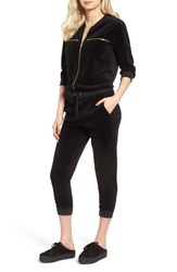 Juicy Couture Women's Velour Crop Track Jumpsuit Pitch Black