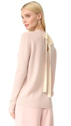 Joseph Tie Back Crew Neck Cashmere Sweater Pearl