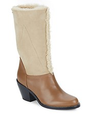 Chloe Kurtis Shearling And Suede Mid Calf Boots Biscotti Brown
